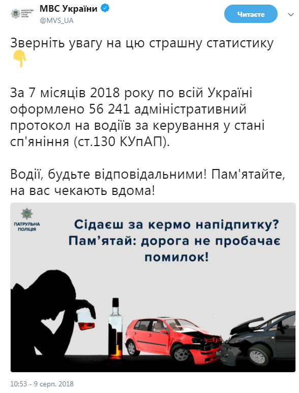 За 7 месяцев оформлено более 56 тыс. протоколов на водителей за управление в состоянии опьянения