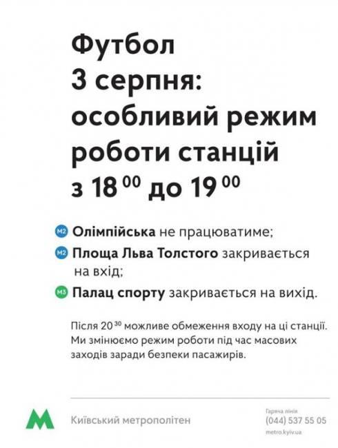 Киевское метро сегодня изменит режим работы в связи с проведением футбола