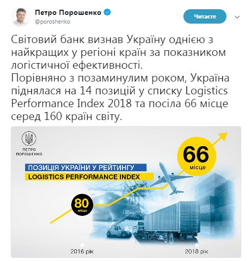 Украина на 66 месте в рейтинге Всемирного банка по индексу логистической эффективности
