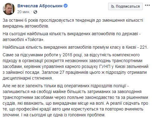 В Украине зафиксировано уменьшение количества угонов автомобилей