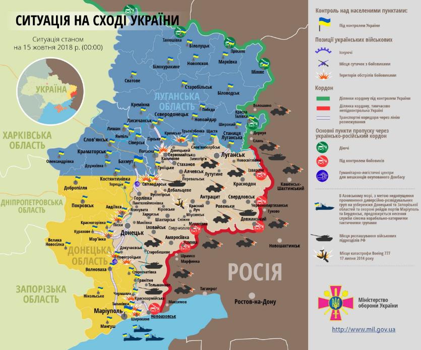 На Донбассе в результате обстрелов ранено одного украинского военного