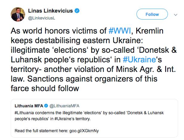 Глава МИД Литвы призвал к санкциям против организаторов