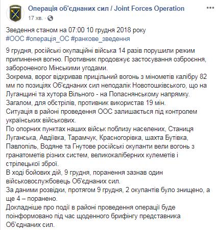 На Донбассе за сутки ранен один украинский военный