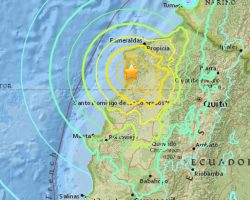 В Эквадоре произошло землетрясение магнитудой 7,5