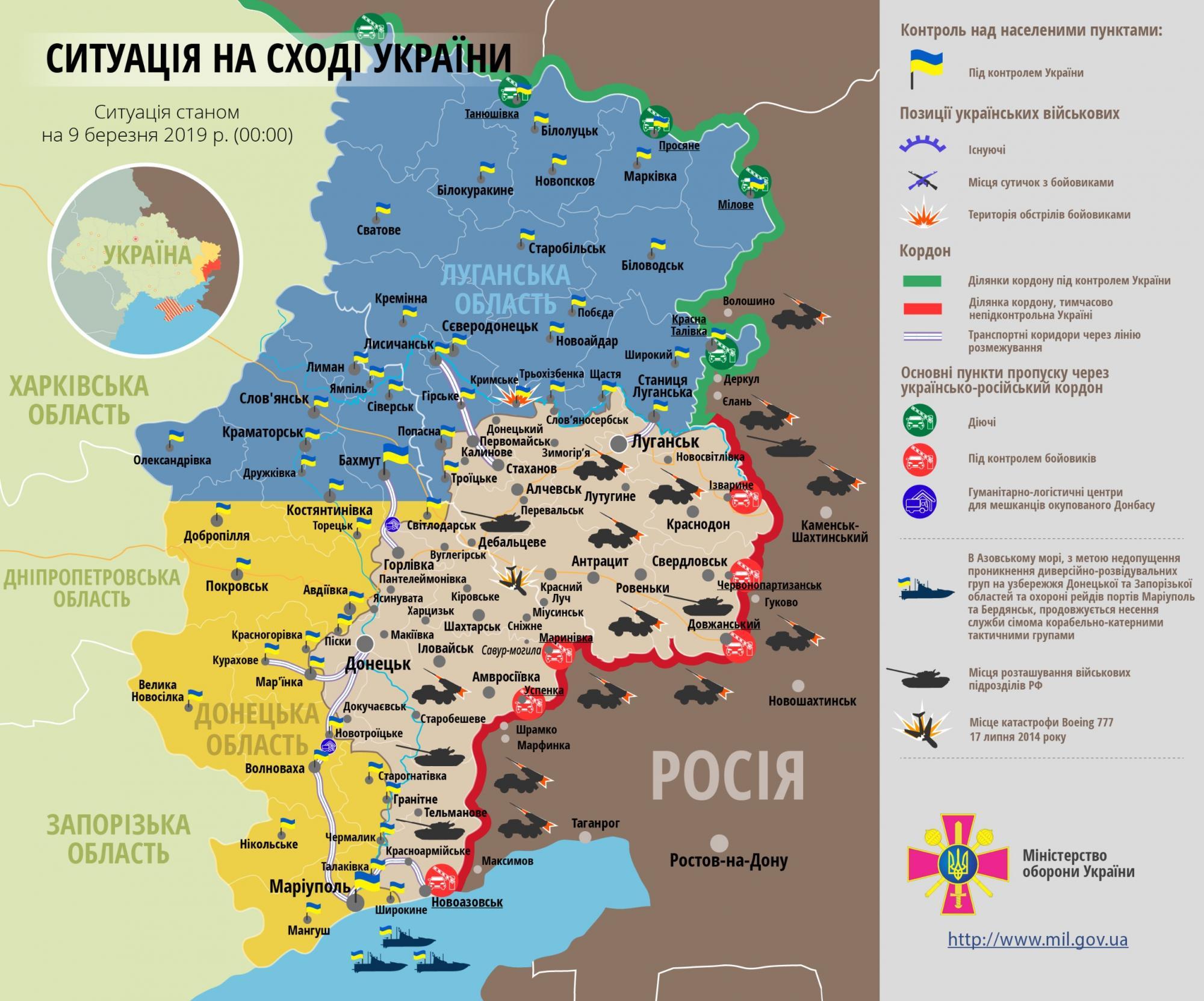 Ситуация на Донбассе по состоянию на 9 марта 2019