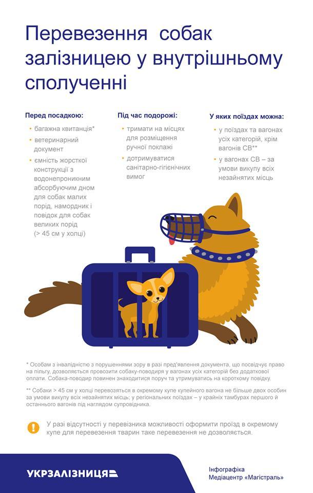 Укрзализныця разъяснила правила перевозки собак в поездах