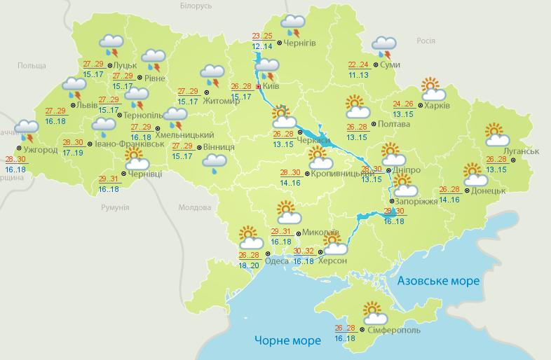 Украину сегодня накроет жара и грозы
