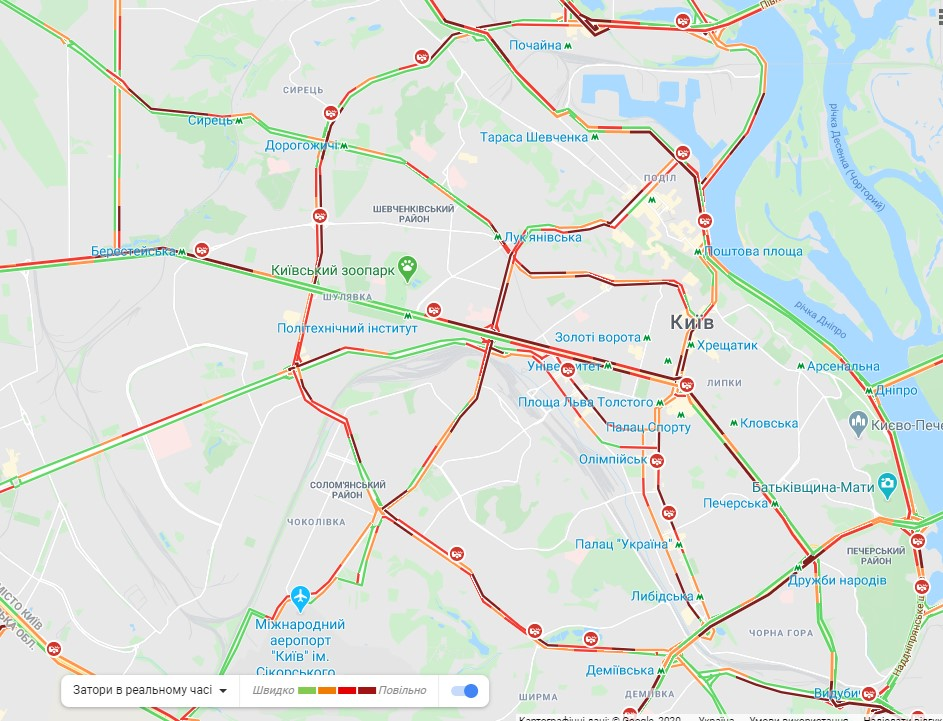 Киев сковали пробки: карта