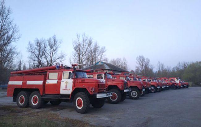 На границе Чернобыльской зоны потушили пожар