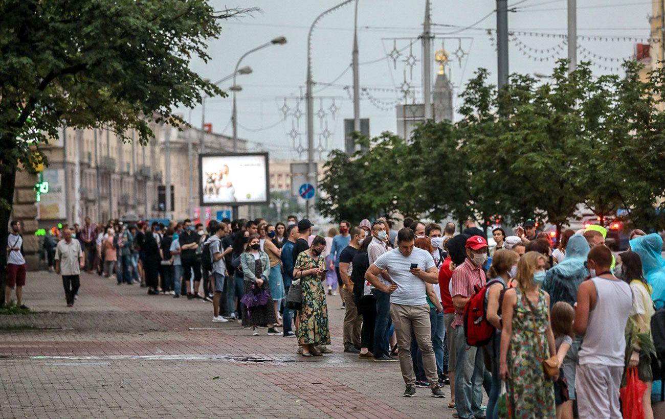 В центре Минска прошли массовые протесты